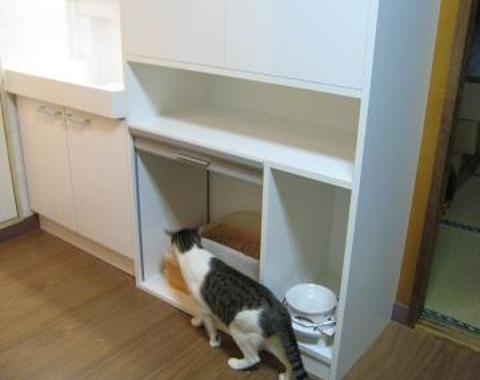 葛飾区のマンションのリフォームで猫ハウスのオーダー家具サムネイル